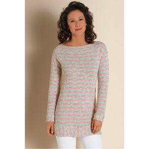 Soft Surroundings Small Pink Blue Marina Pullover